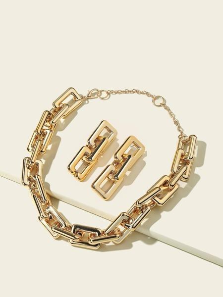 3pcs Geometric Chain Design Jewelry Set