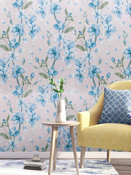 1sheet Flower Print Wallpaper Sticker