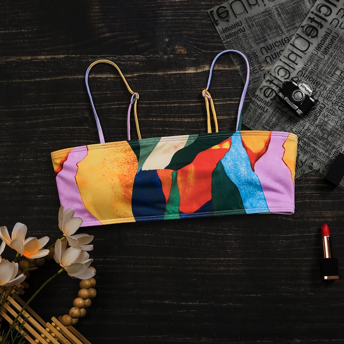 shein Boho Volledig geprint Bikini top