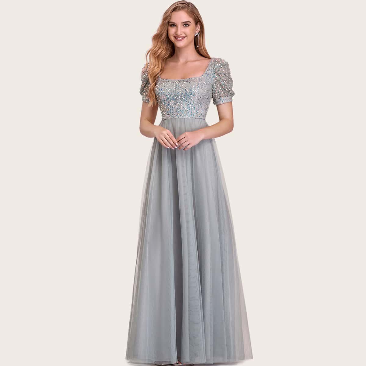 SHEIN / Square Neck Sequin Bodice Mesh Prom Dress