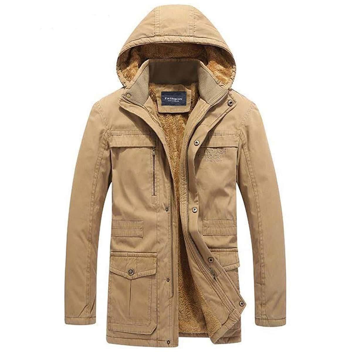 Manteau à capuche avec doublure duveteux et zip