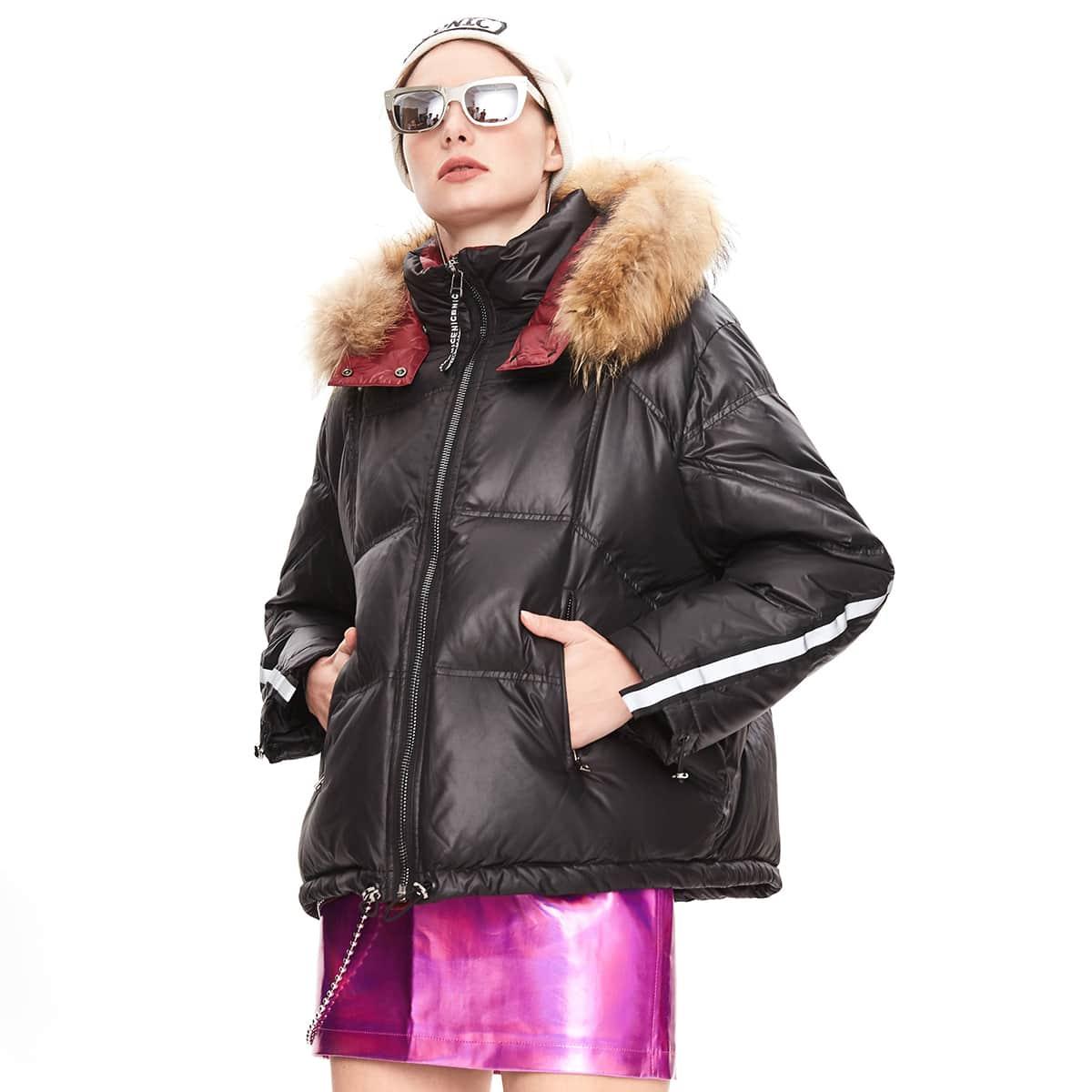 Zip Up Contrast Faux Fur Hooded Tape Down Coat