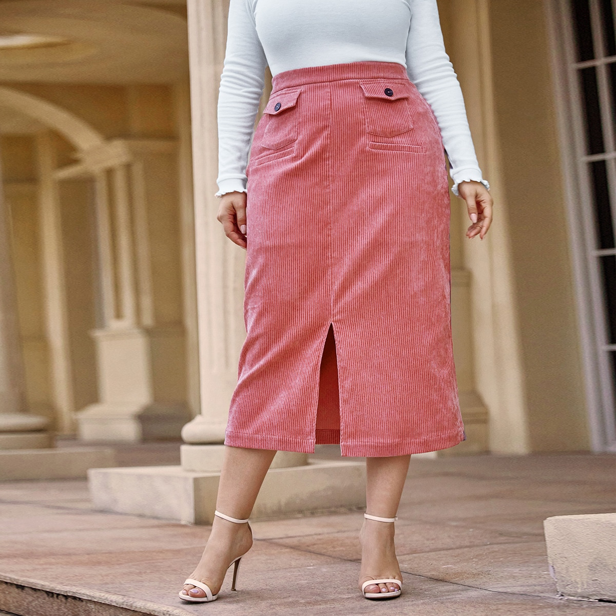 SHEIN / Plus Flap Pocket Split Hem Cord Skirt