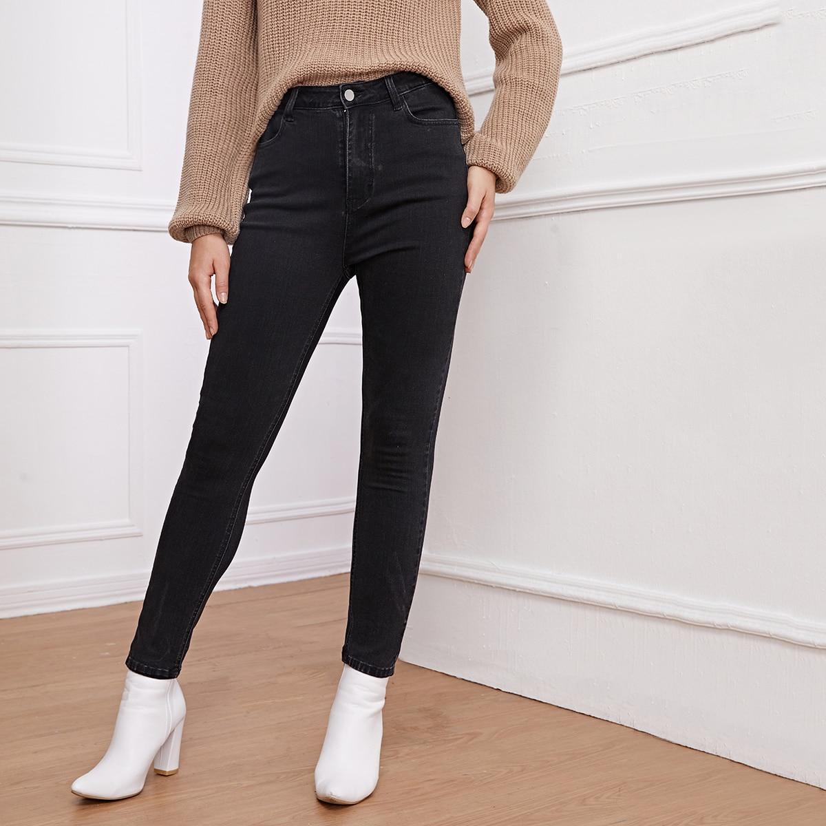 Кроп джинсы скинни с высокой талией