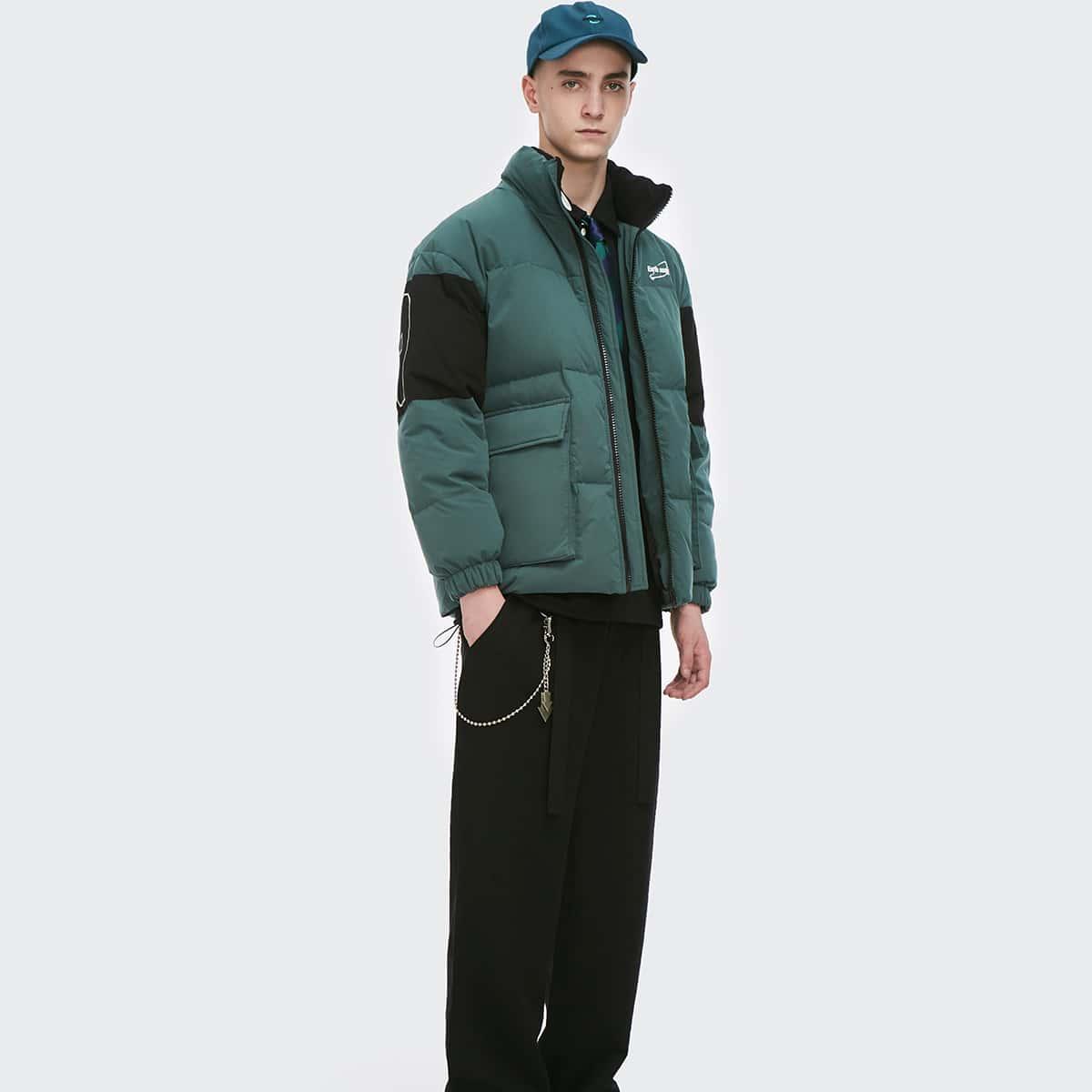 Men Flap Pocket Letter Graphic Puffer Jacket