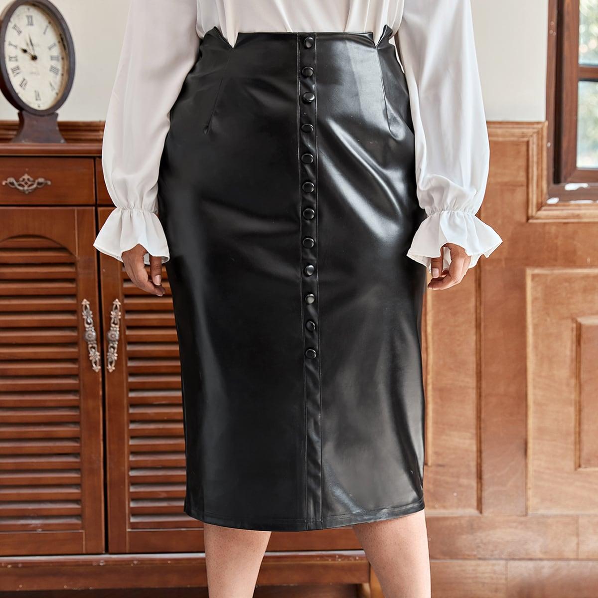 SHEIN / Plus M-slit Waist Button Front PU Skirt