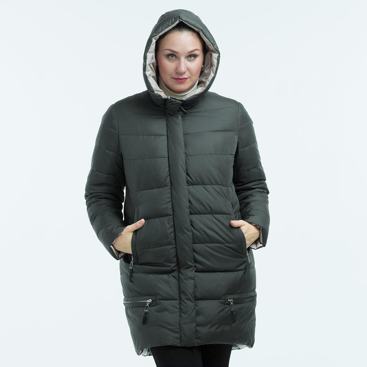 Astrid Plus Pocket Side Hooded Puffer Coat