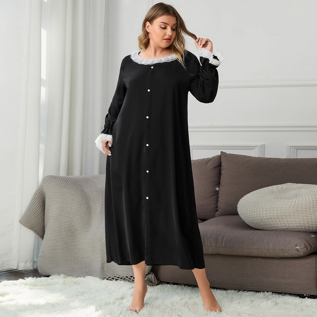 SHEIN / Plus Contrast Lace Flounce Sleeve Night Dress