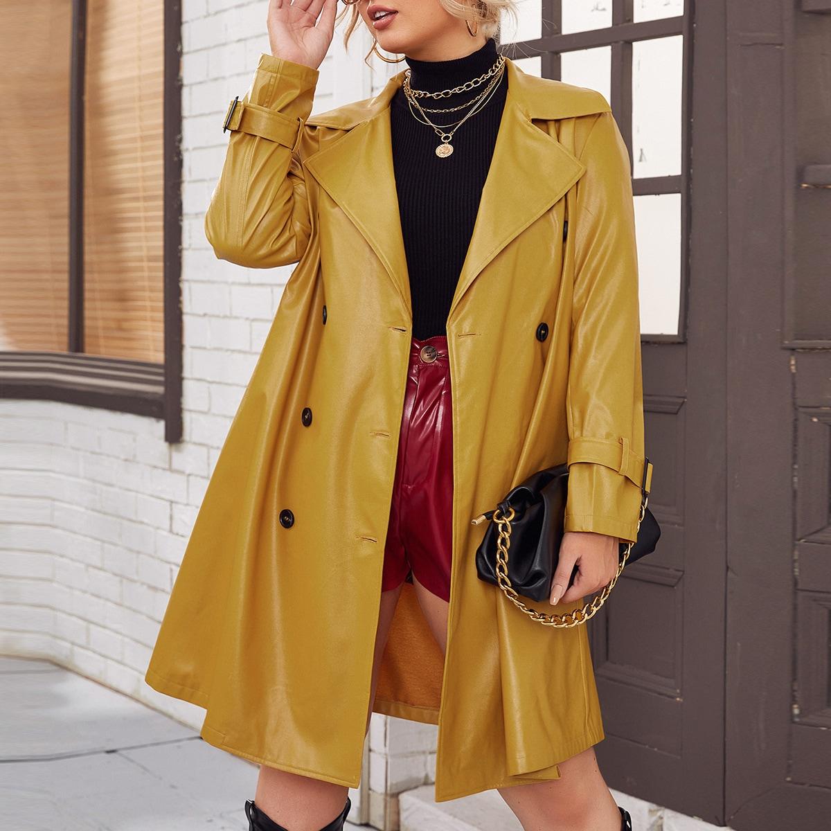 SHEIN / PU Leder Mantel mit Revers Kragen