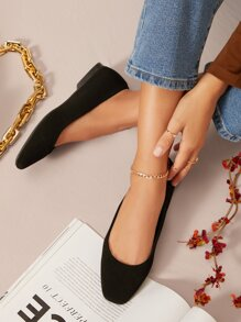 Vegan Leather Slip On Ballet Flats