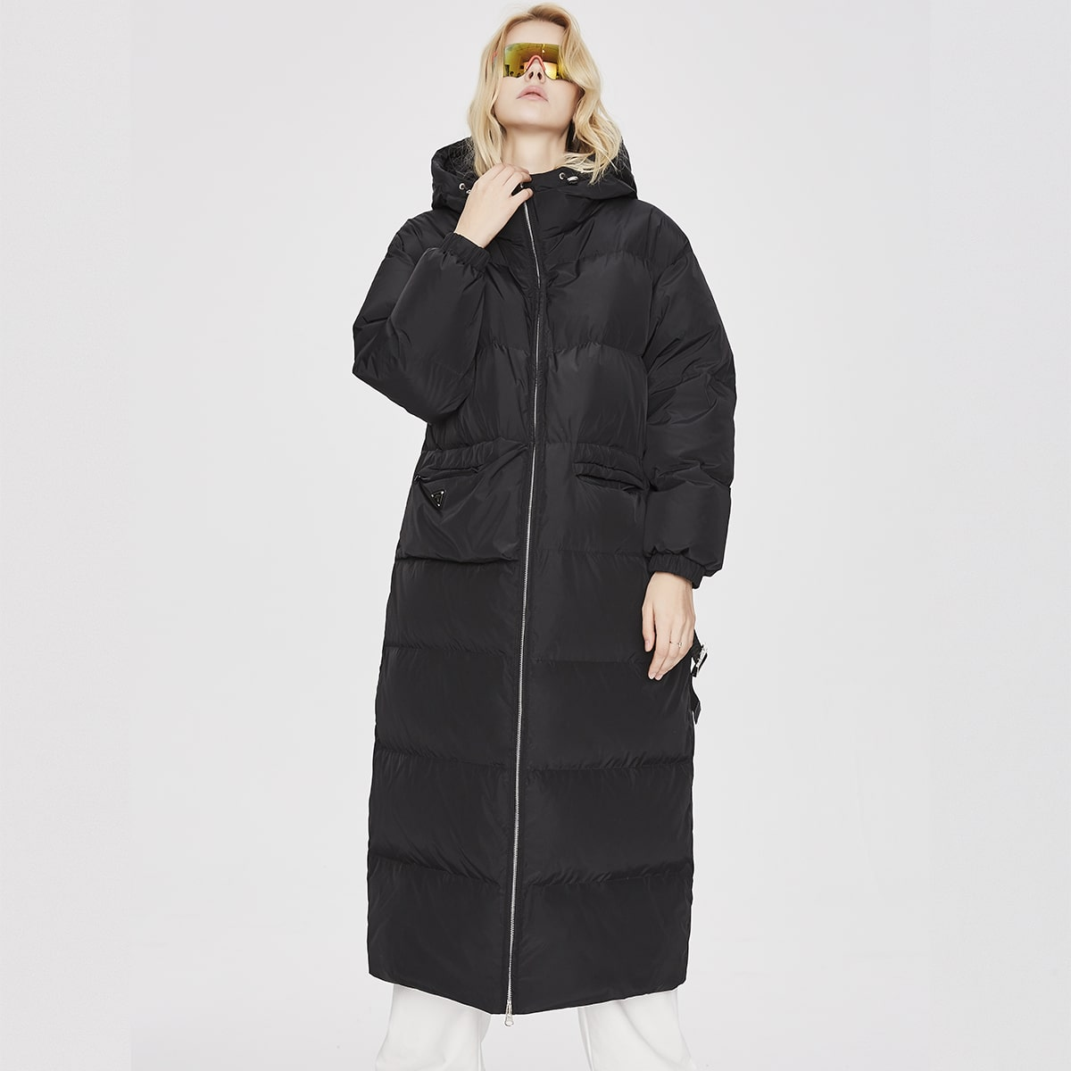 Zip Up Buckle Belted Hooded Down Coat