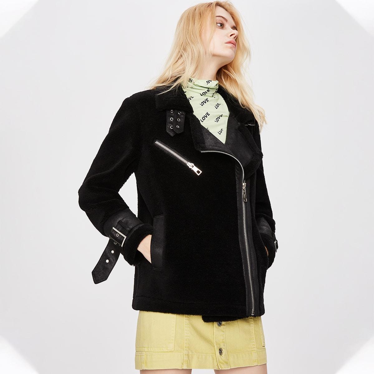 Zip Up Teddy Moto Jacket
