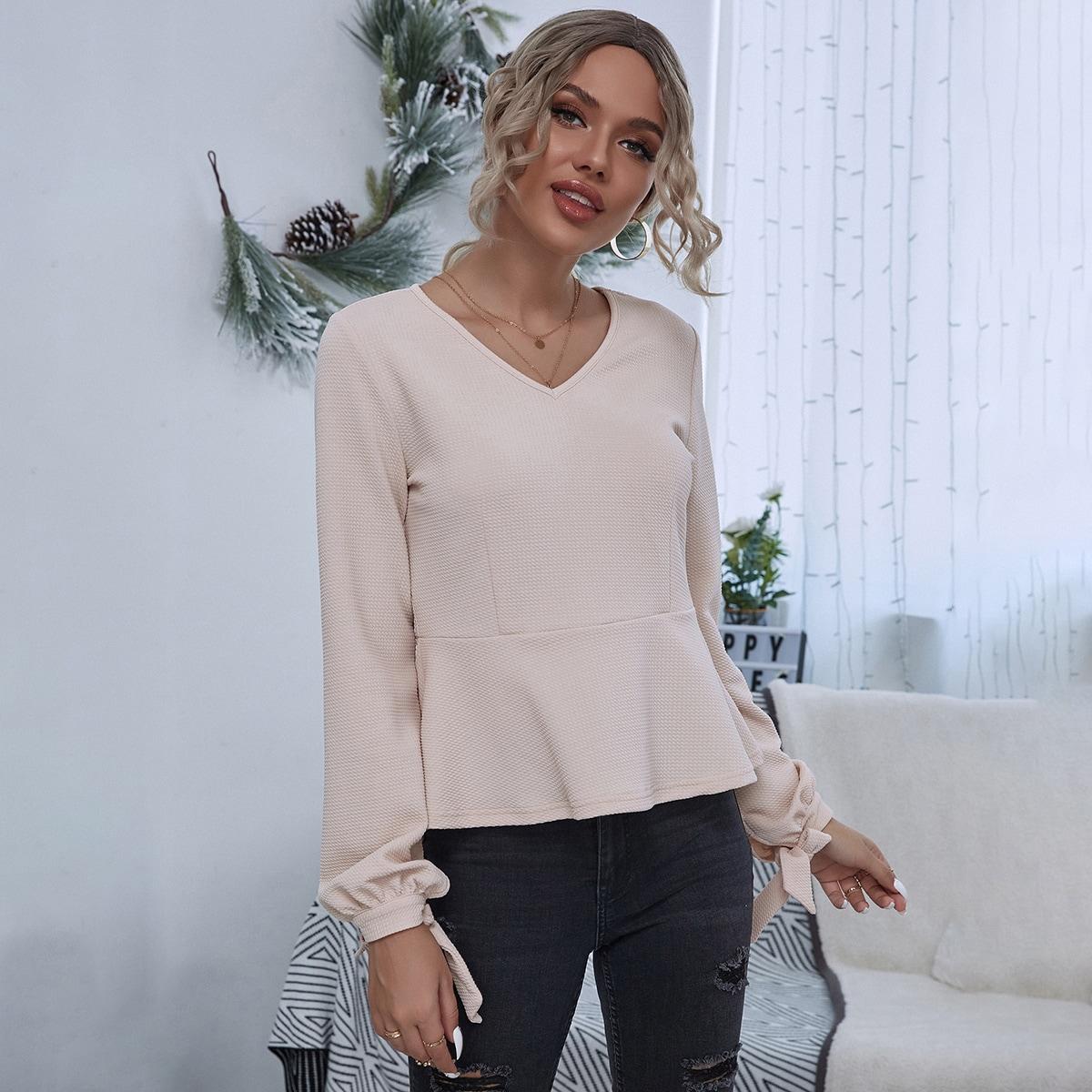 SHEIN / Waffelstrick T-Shirt mit Knoten, Manschetten und Schößchen
