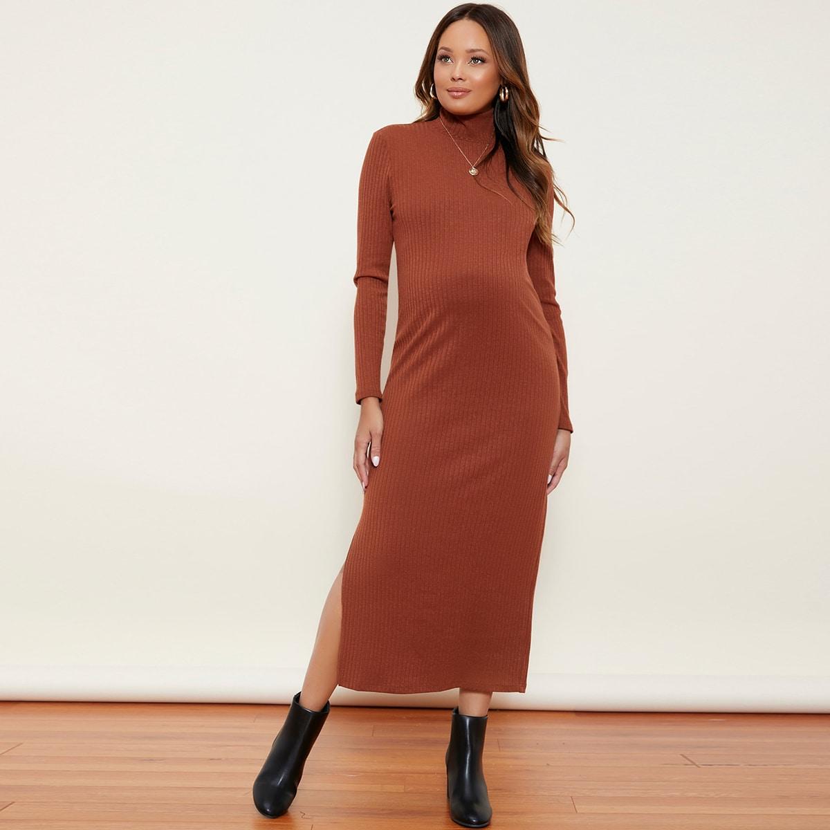 Вязаное платье в рубчик с высоким воротником и разрезом для беременных от SHEIN