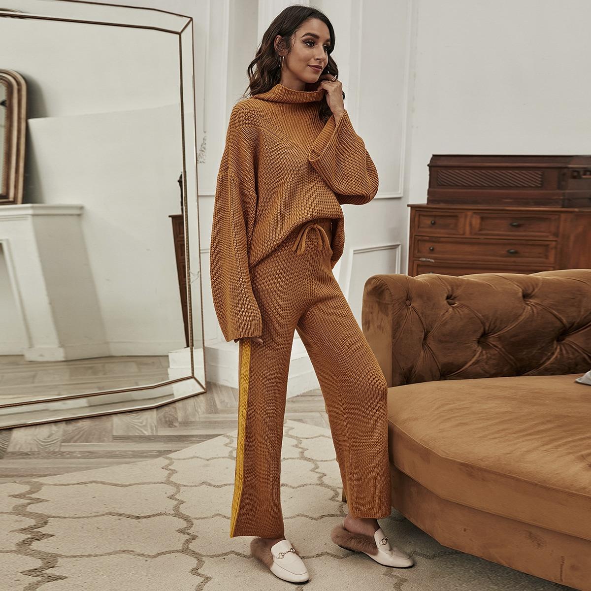 SHEIN / Pullover mit Streifen, Rollkragen & Strick Hose