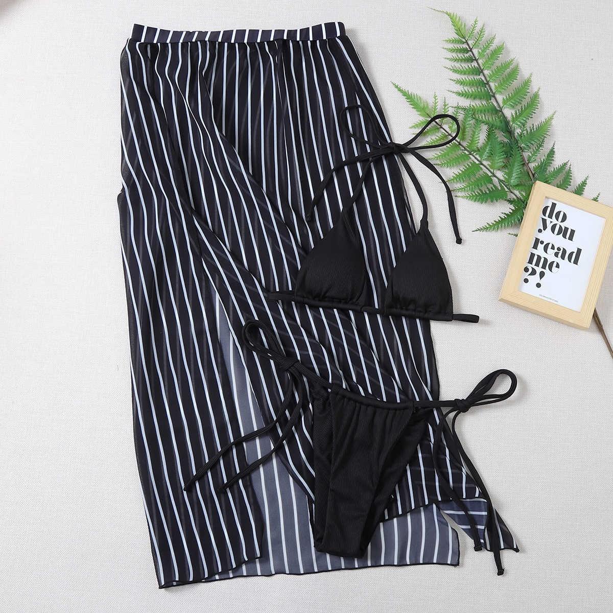 SHEIN / 3pack Triangle Thong Bikini Swimsuit & Striped Beach Skirt