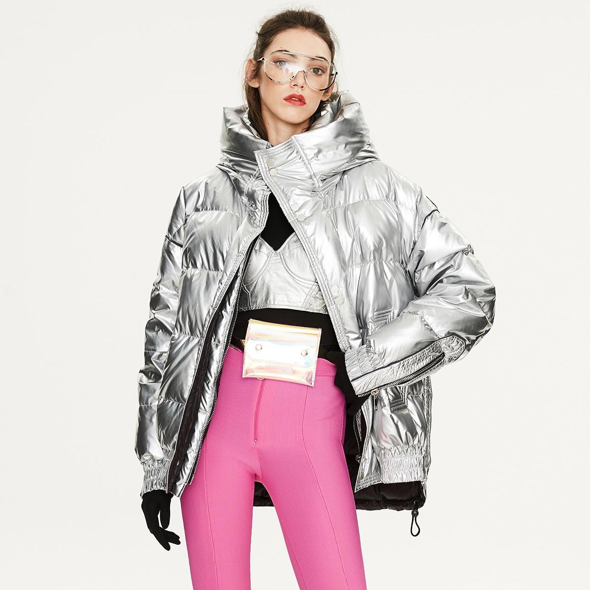 Drop Shoulder Hooded Silver Down Coat