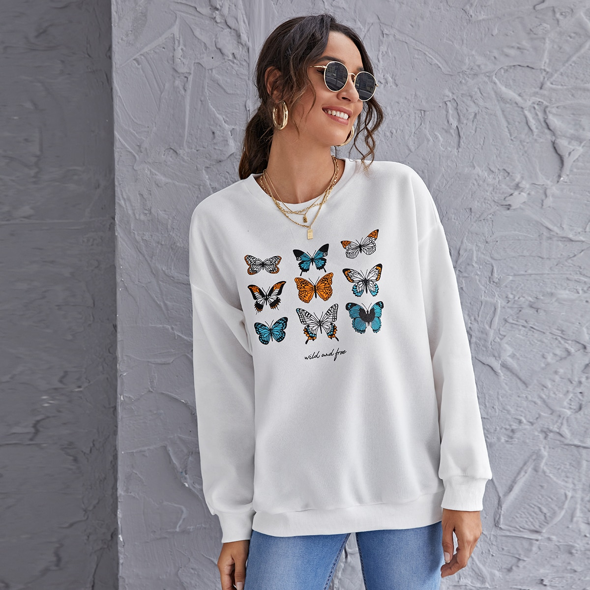 SHEIN / Drop Shoulder Butterfly & Letter Graphic Pullover