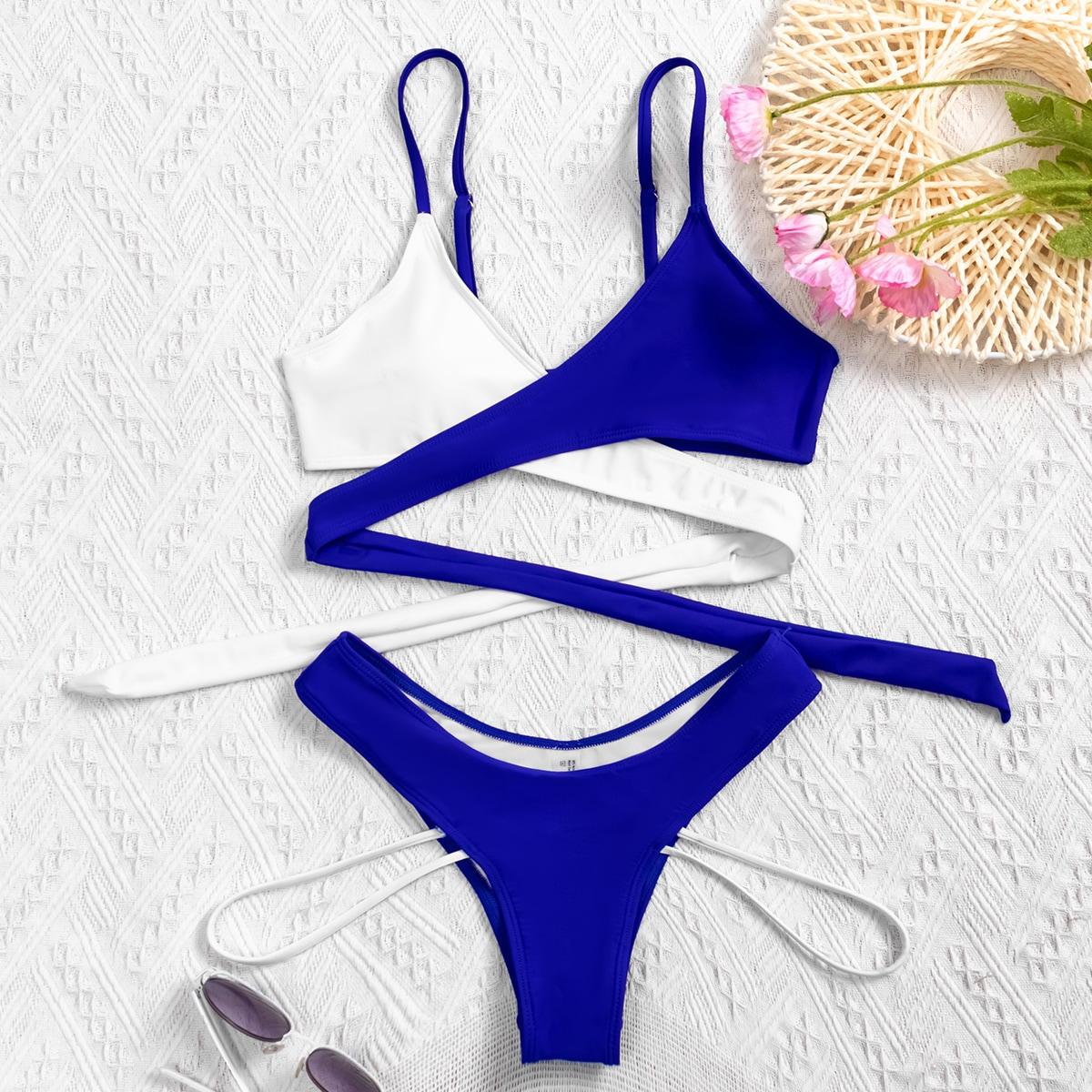 SHEIN / Color Block Wrap High Cut Bikini Swimsuit