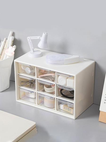 1pc 9 Grid Desktop Storage Box