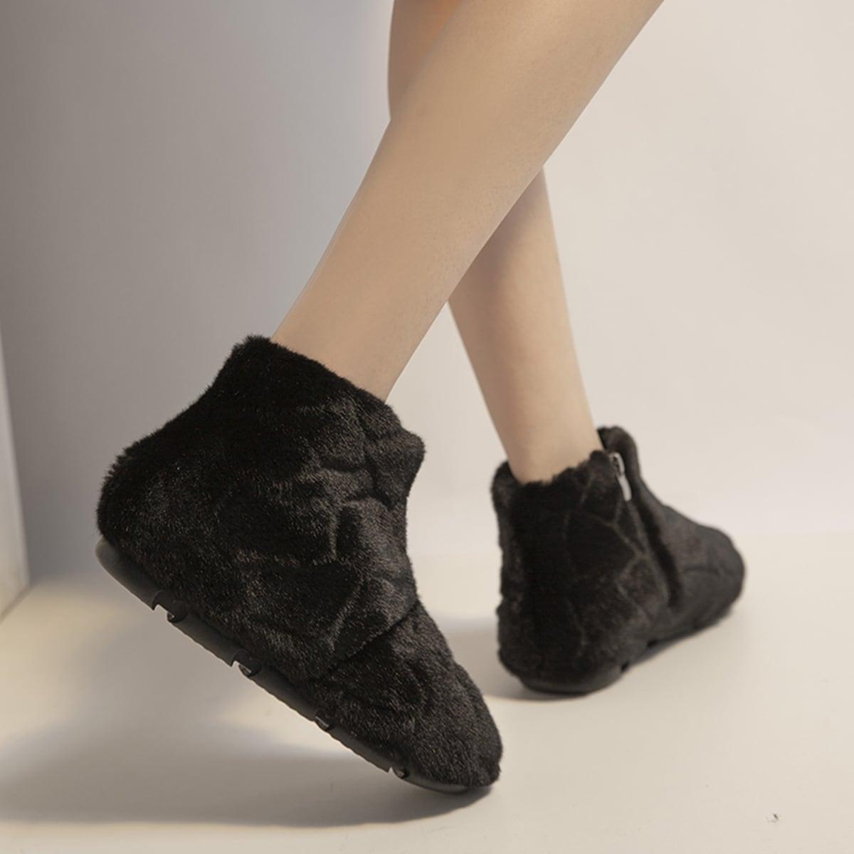SHEIN / Minimalistische flauschige Stiefel mit Reißverschluss