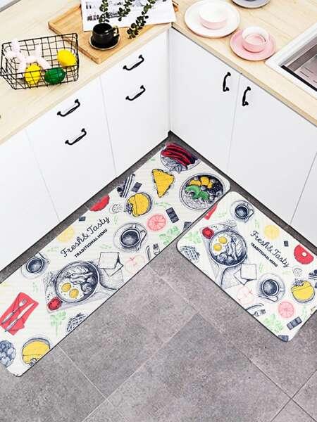 1pc Food Print Kitchen Carpet