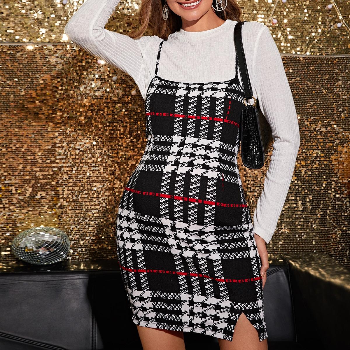 Облегающее платье в клетку с разрезом для беременных без футболки от SHEIN
