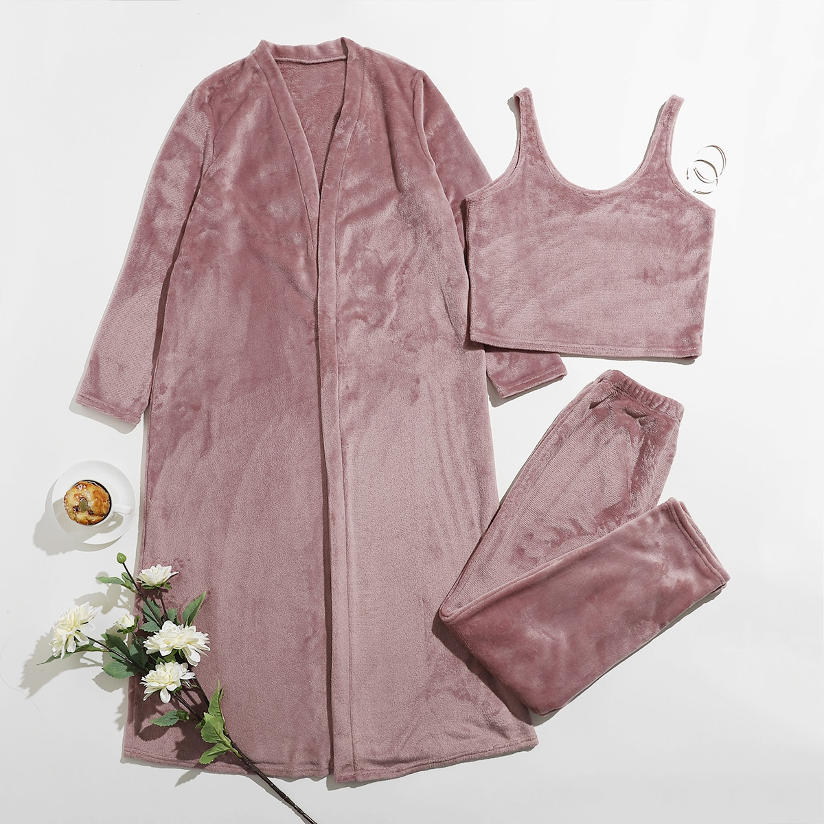 SHEIN / Flanell einfarbiges Tank Top & Robe Lounge Set