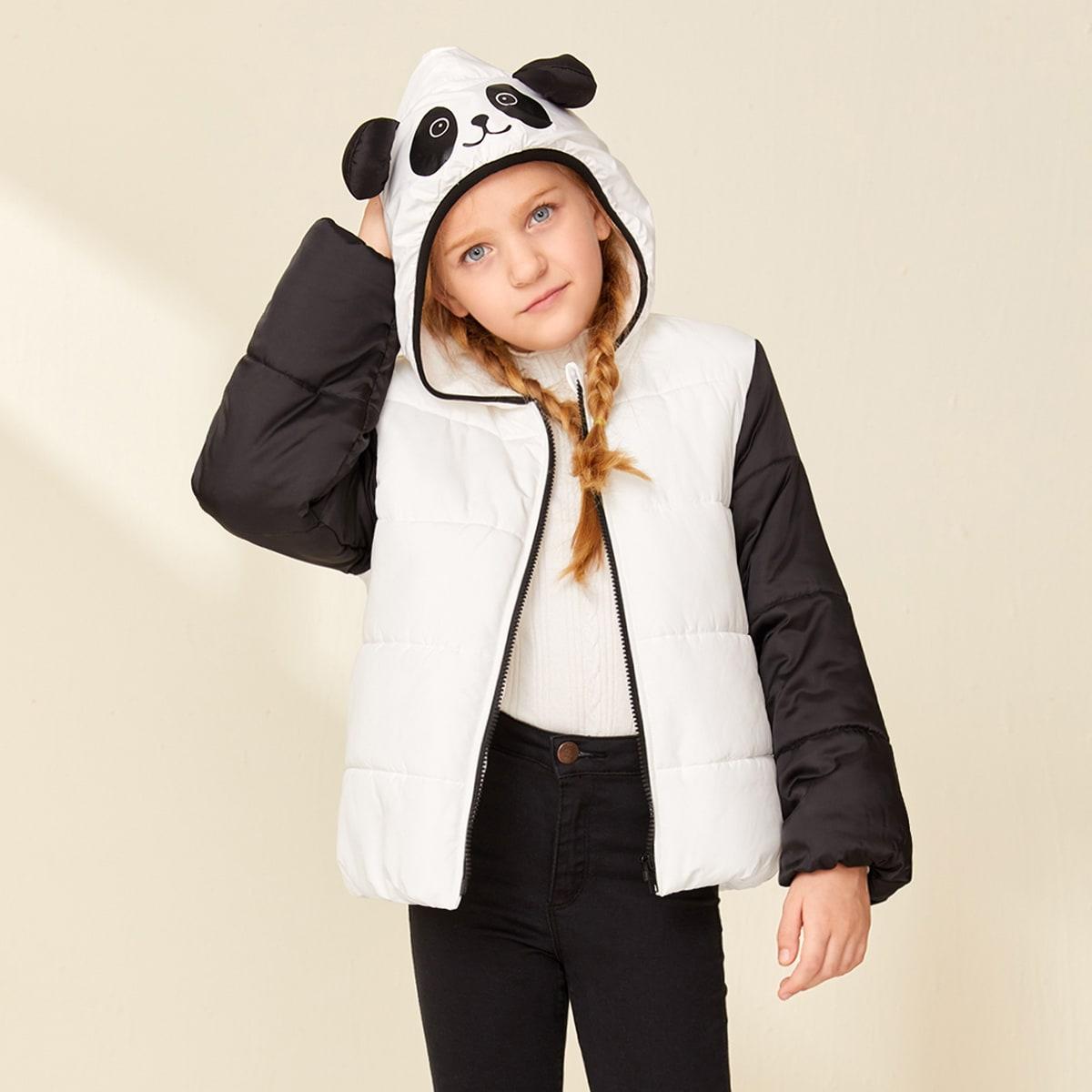 SHEIN / Girls 3D Panda Ear Design Colorblock Puffer Jacket