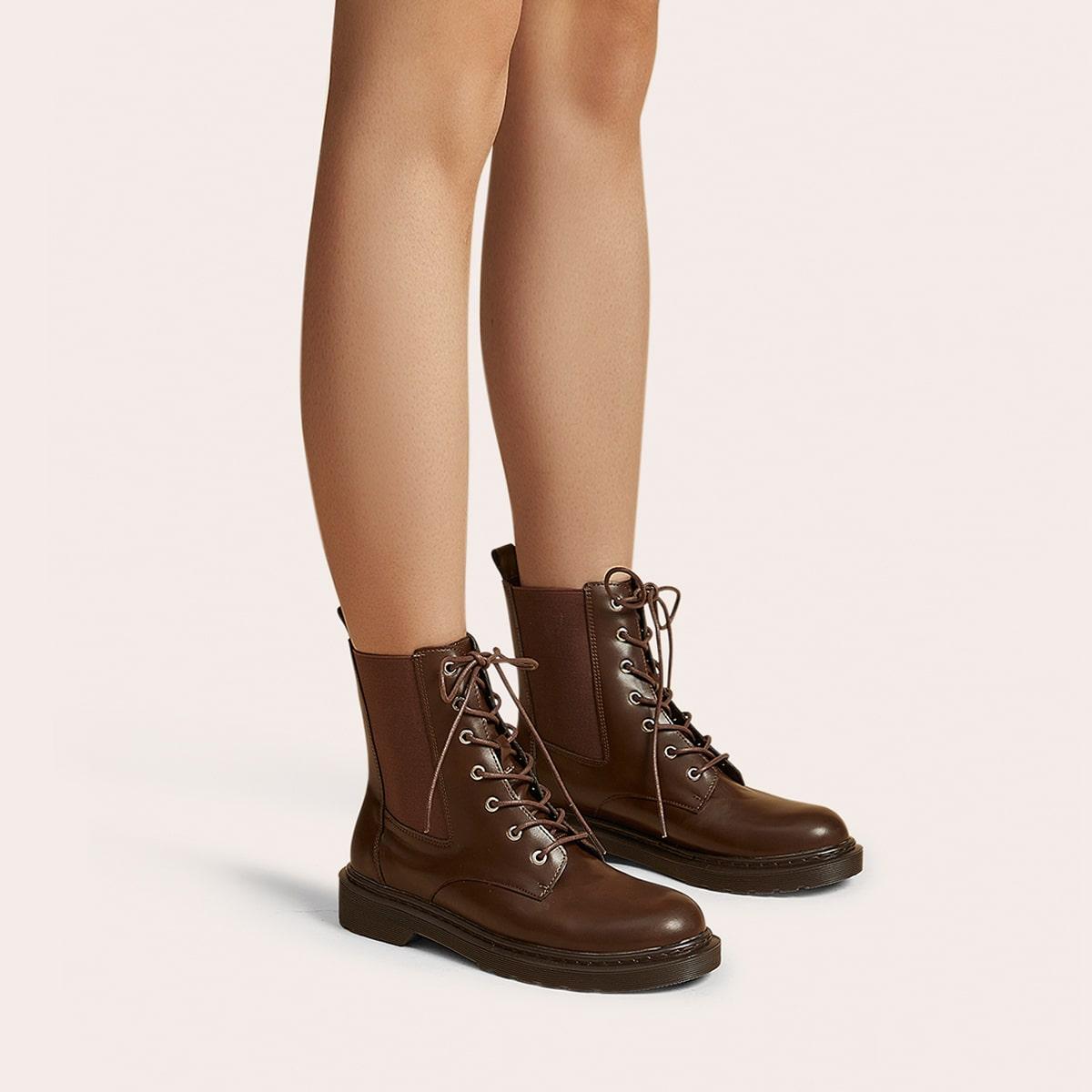SHEIN / Minimalistische Chelsea Stiefel zum Schnüren