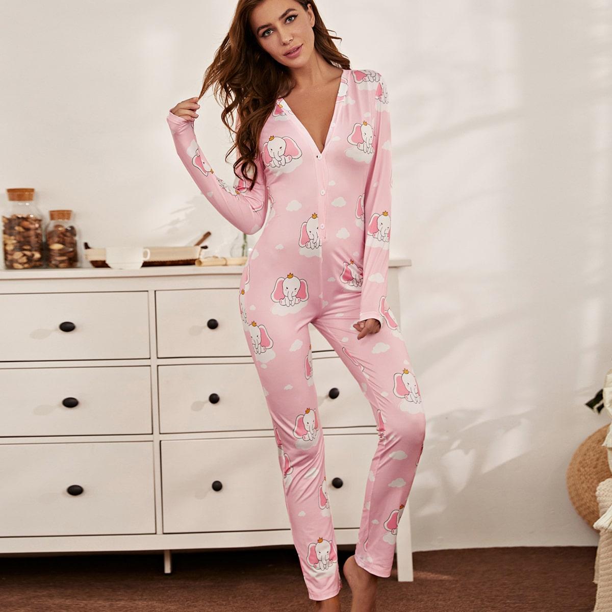 Комбинезон пижама с пуговицами и мультипликационным принтом