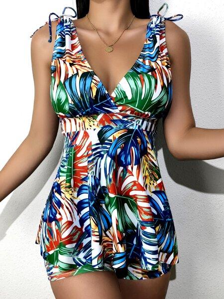 Tropical Ruffle Hem Bikini Swimsuit