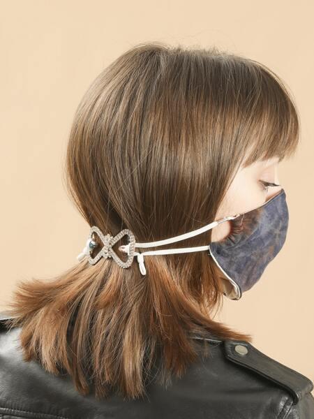Rhinestone Decor Bow Design Face Mask Accessory
