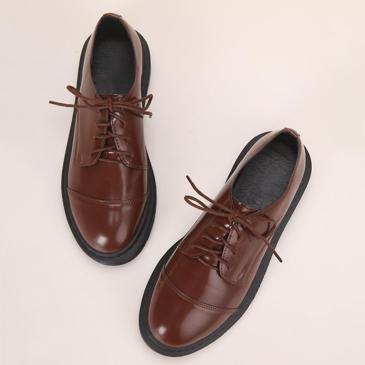 SHEIN / Minimalistische Derby Schuhe mit Band vorne