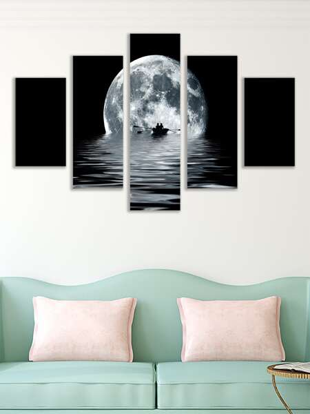 5pcs Moon Print Wall Painting Without Frame
