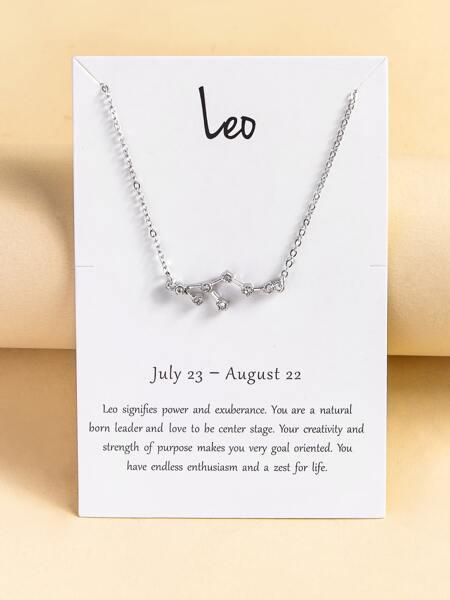Rhinestone Leo Constellation Decor Necklace