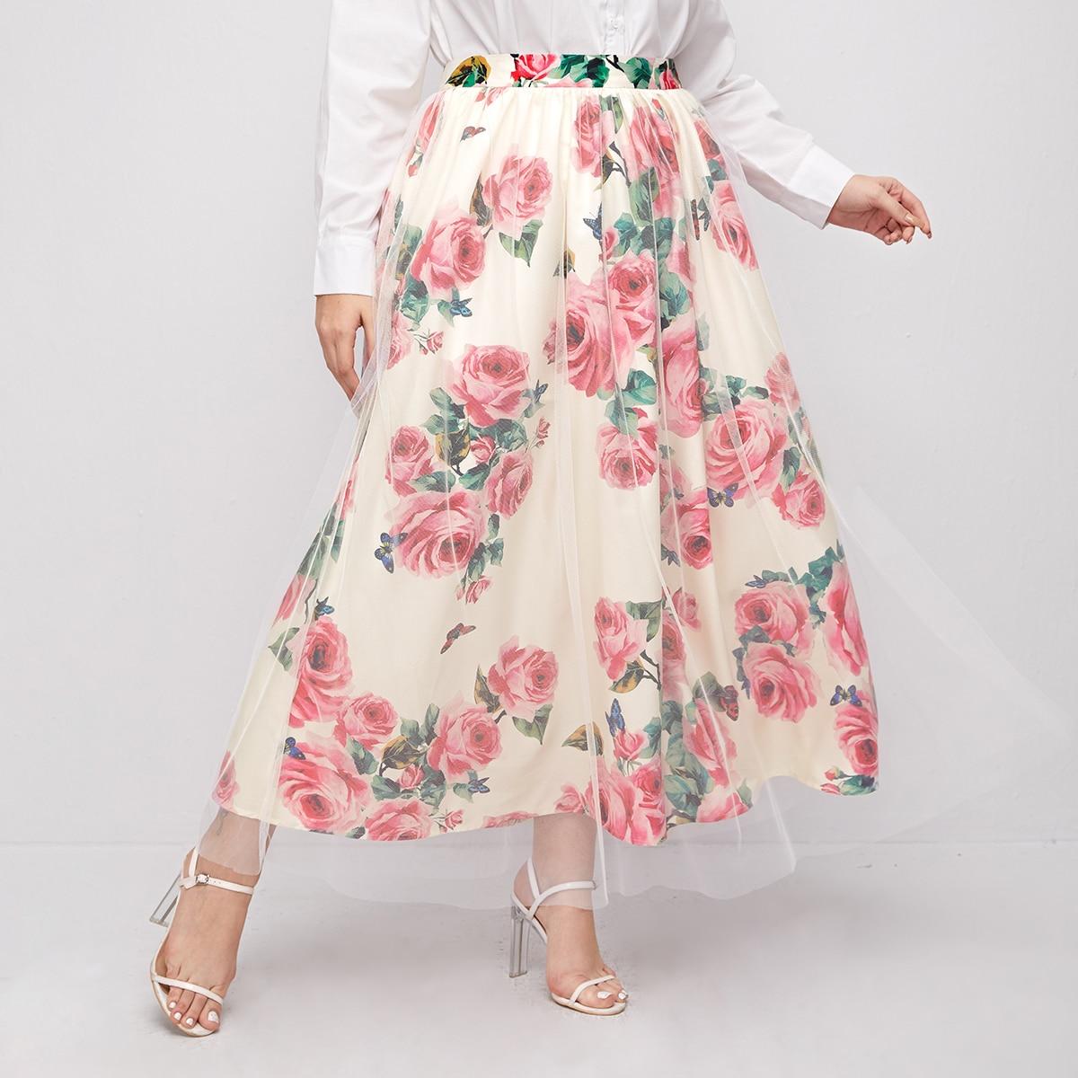 SHEIN / Plus Big Floral Mesh Overlay Skirt