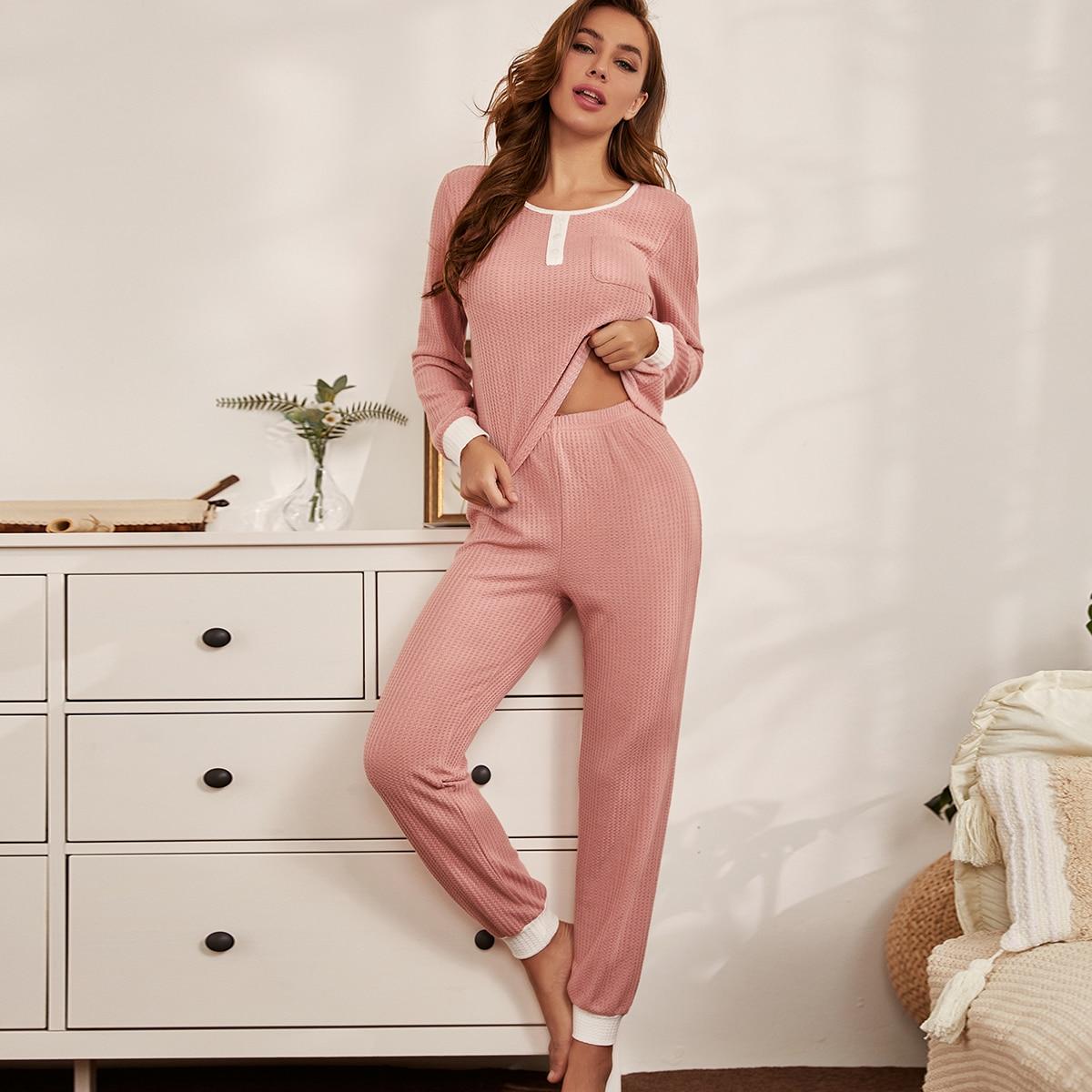 SHEIN / Waffelstrick Schlafanzug Set mit Taschen