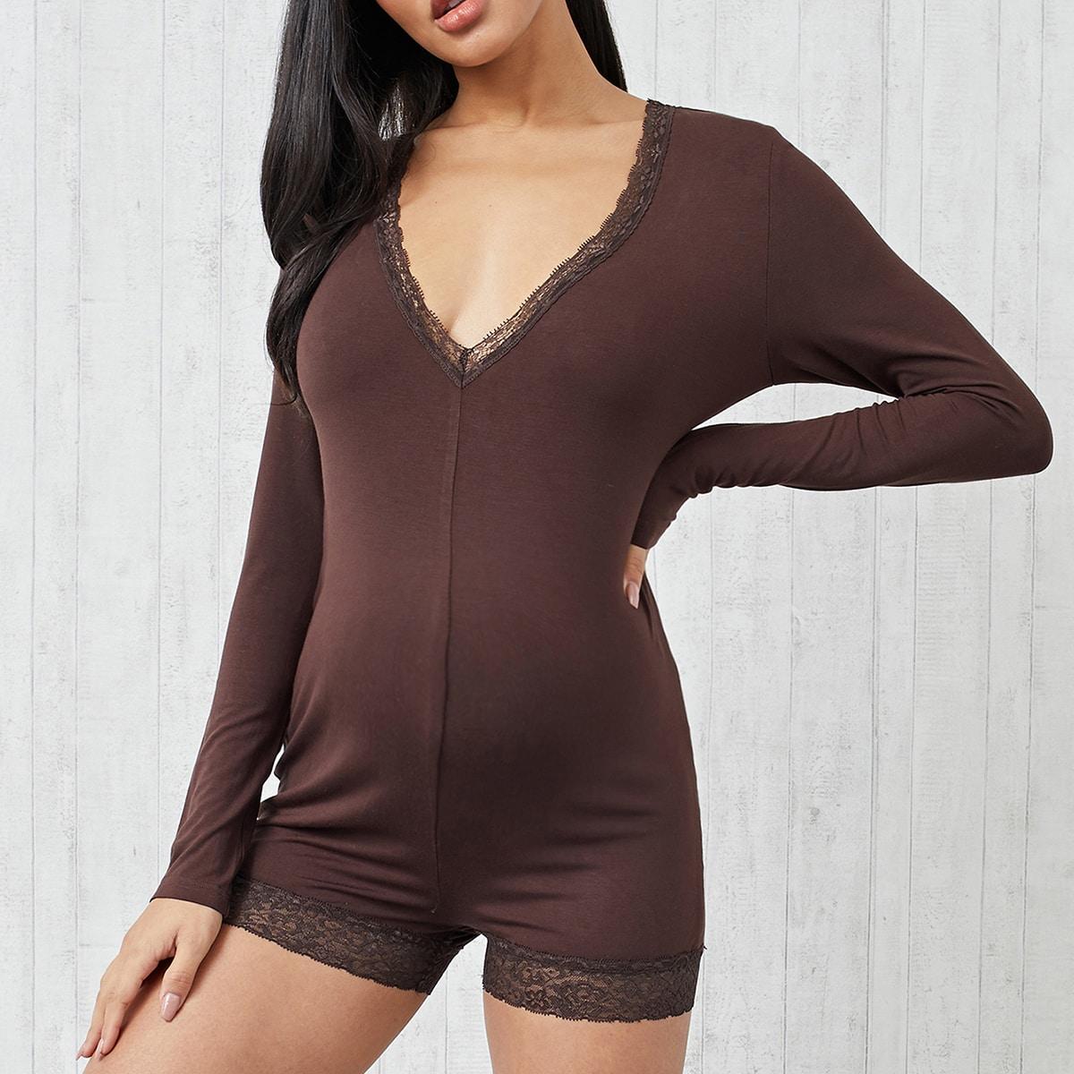 Контрастные кружева Одноцветный Повседневный Домашняя одежда для беременных