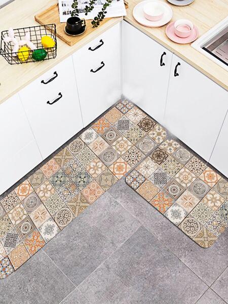 1pc Vintage Pattern Kitchen Carpet