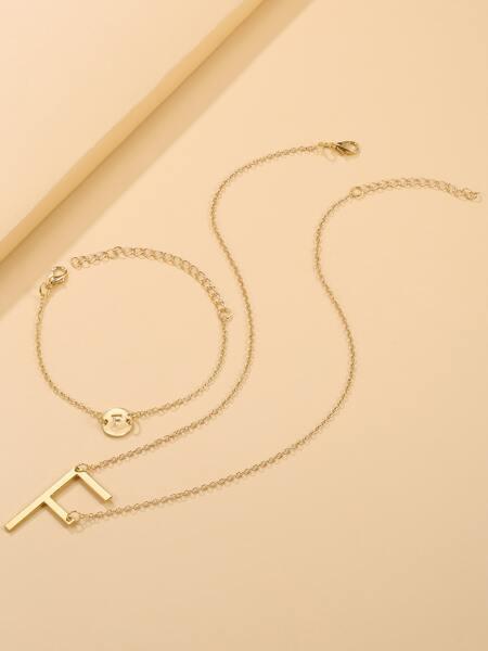 Letter Charm Necklace & Bracelet