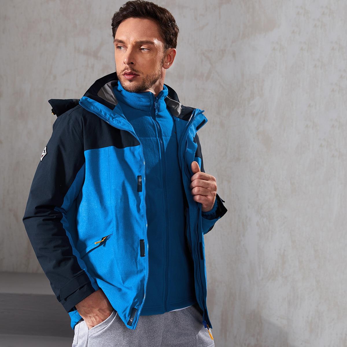 Men Two Tone Detachable Fleece Lined Hooded Sports Jacket