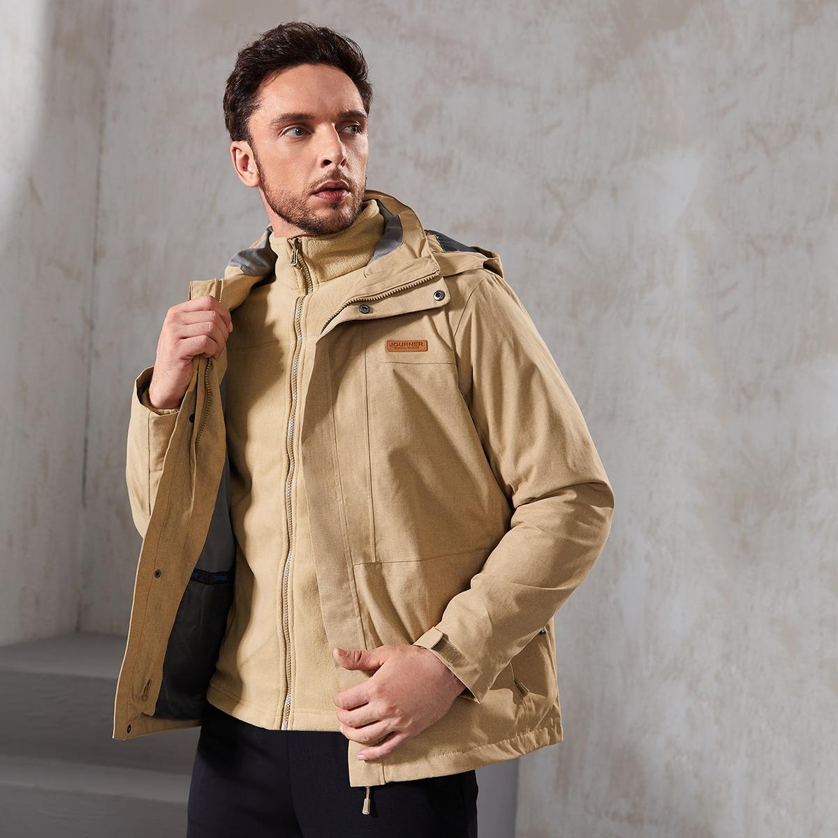 Men Detachable Fleece Lined Hooded Sports Jacket