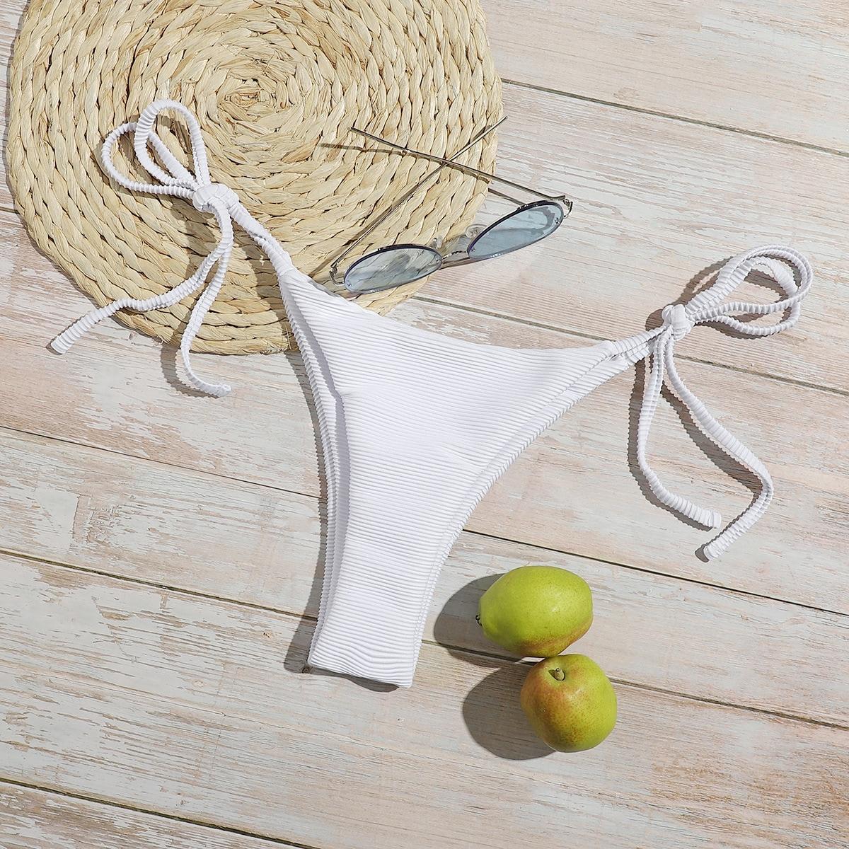 shein Sexy Vlak Bikini bottom Geknoopt