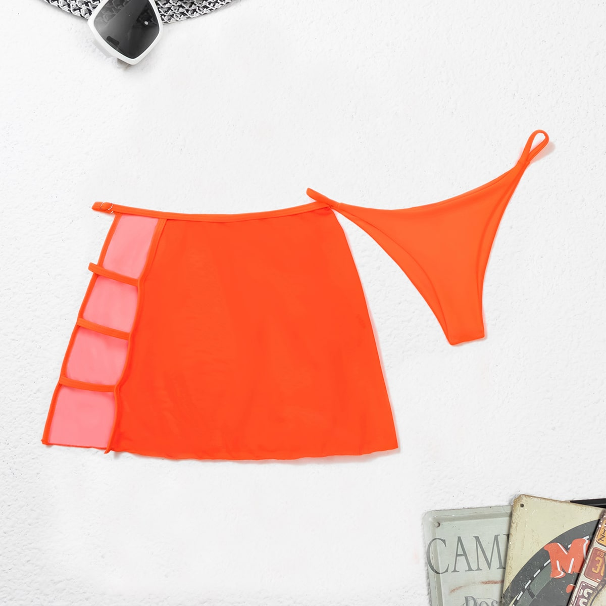 shein 2-pack string bikinibroekje met mesh strandrok
