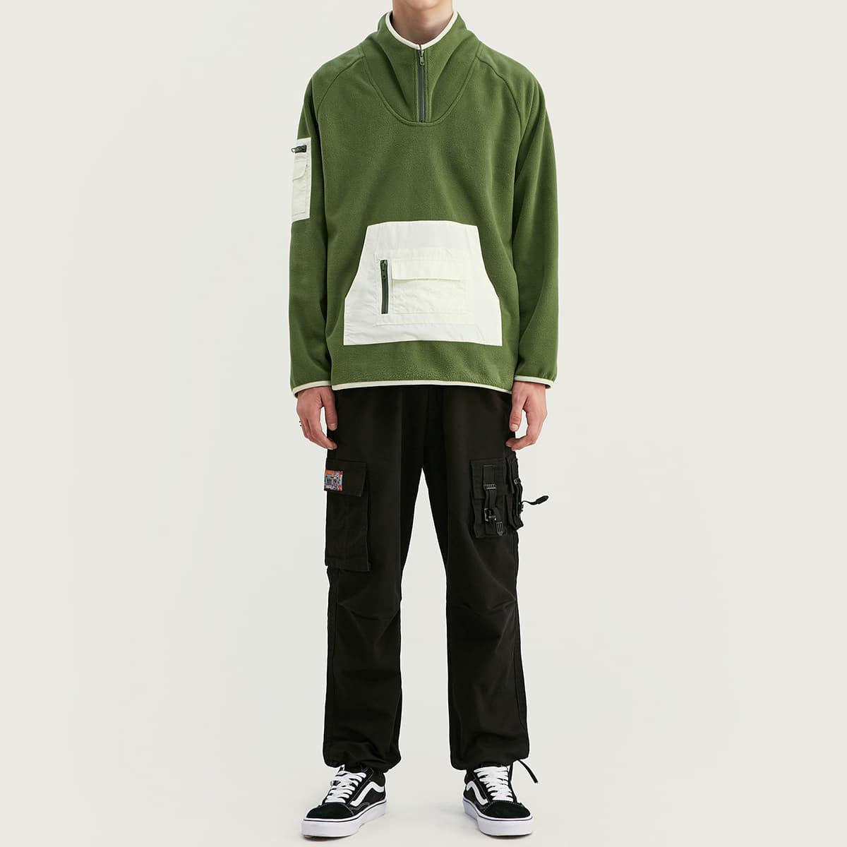 SHEIN / Vlies Pullover mit Raglanärmeln, Känguru Tasche
