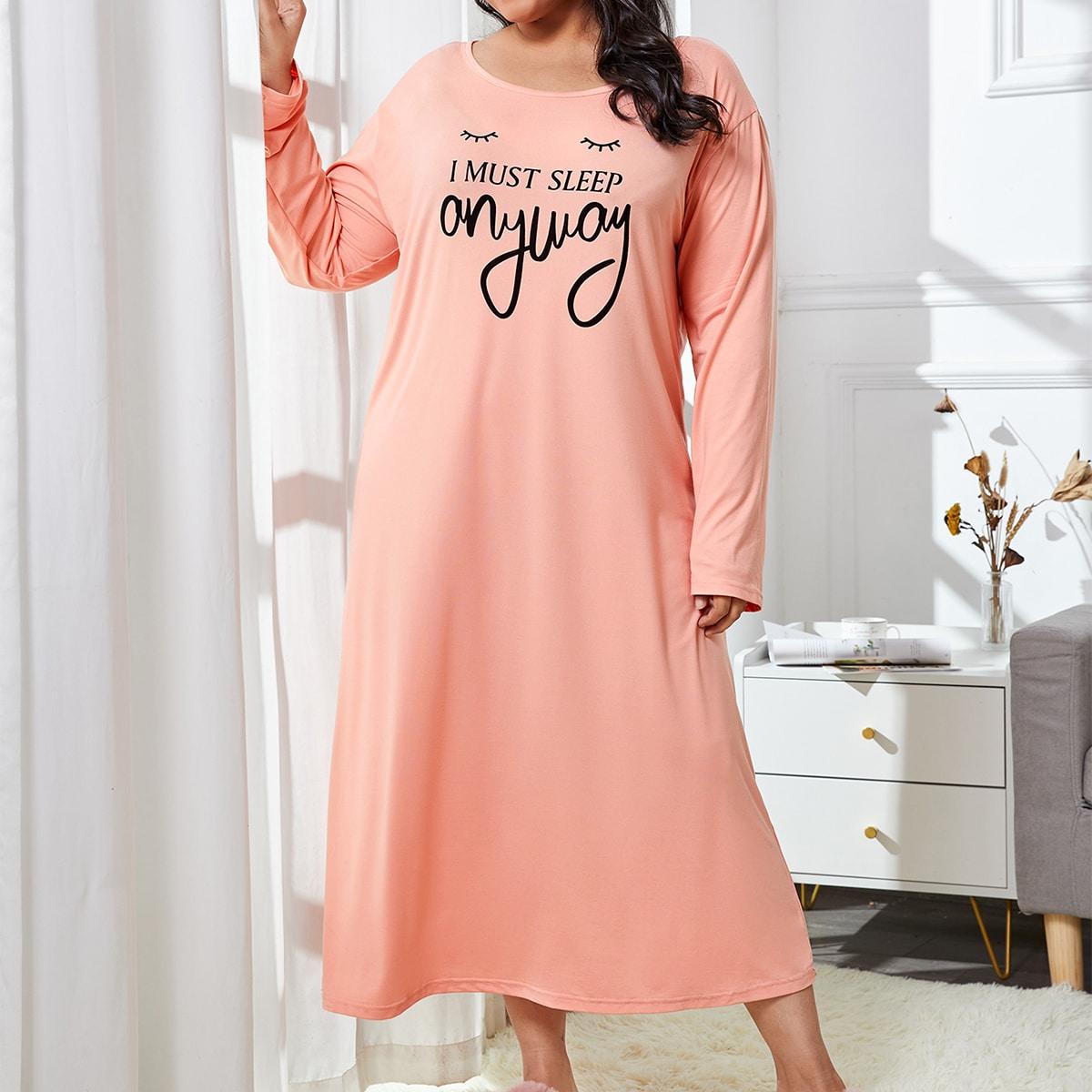 SHEIN / Plus Eyelash & Slogan Graphic Longline Night Dress
