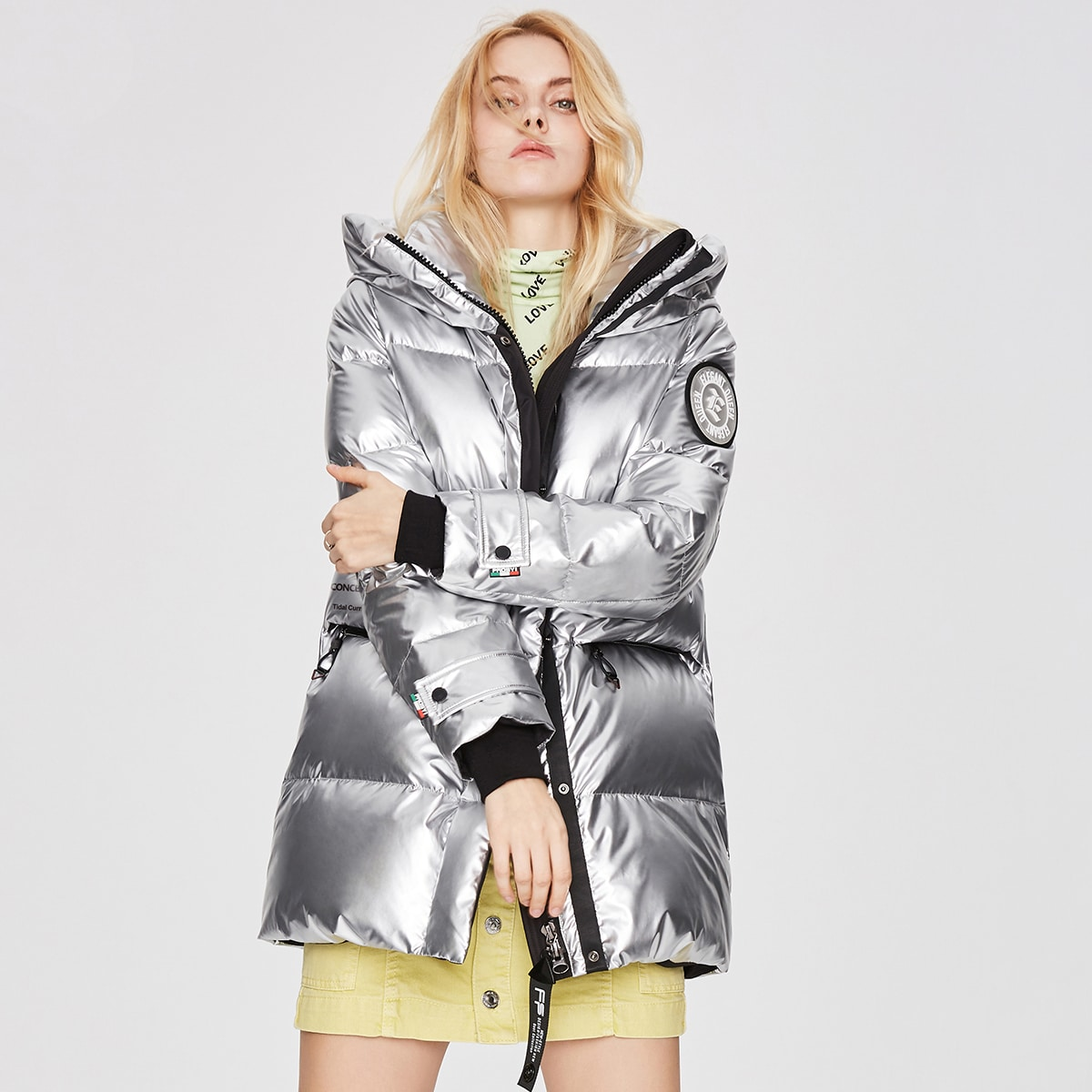 Patched Detail Hooded Silver Down Coat