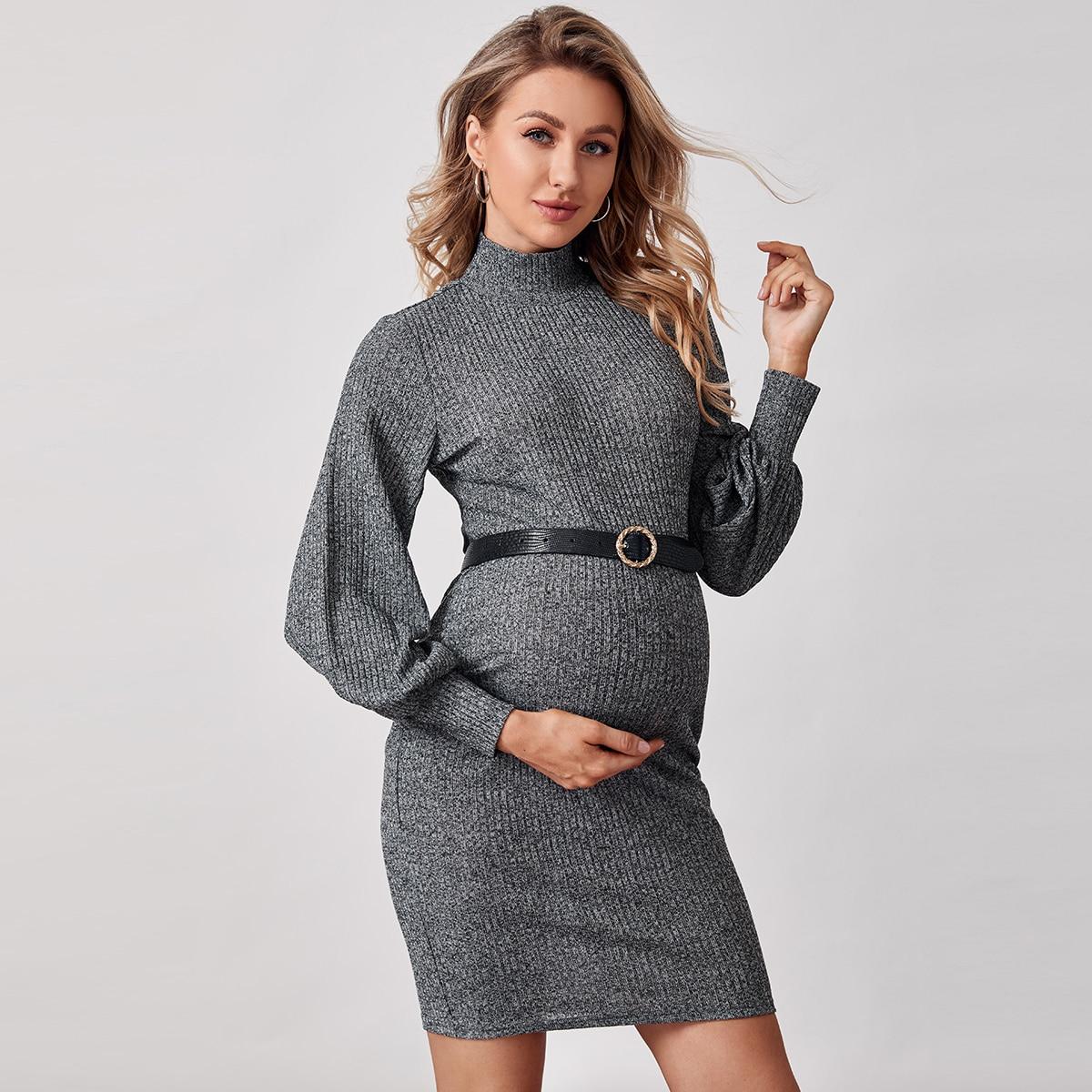 Вязаное платье в рубчик без пояса для беременных от SHEIN