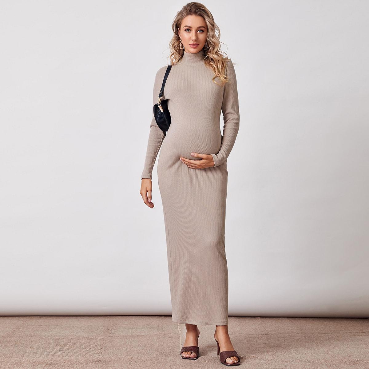 Однотонное трикотажное платье для беременных от SHEIN